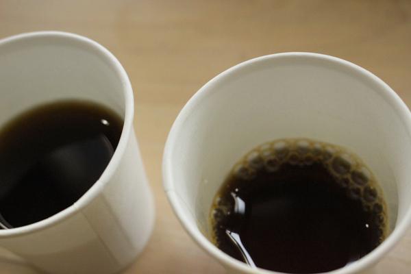 ジユクコーヒー部での、コーヒーの飲み比べ